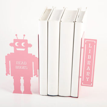 Bookends FREE SHIPPING shelf decor Robots read too II  these bookends will hold your child's favorite books. for kids' room.