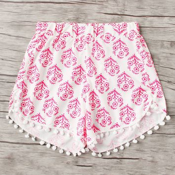 Pom Pom Trim Floral Beach Shorts