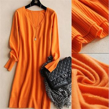 2019 New Spring Winter Women Sexy Slim Sweater Dress Fashion Solid Knitting V -neck Bodycon Basic Mini Solid Color Knitted Dress