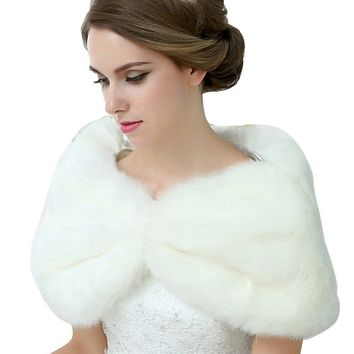 In Stock Wedding Accessory Faux Fur Black White Custom Made Bridal Coat Wedding Bolero Stoles Jacket Shrug Wraps 17010