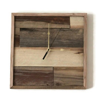 Square Wall clock Pallet Clock Handmade Wood Clock Recycled Trending Urban Industrial Square Gift
