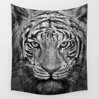 Tiger Black & White Wall Tapestry by Nicebleed