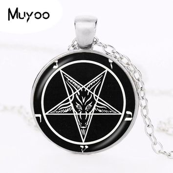Satanic Baphomet Inverted Pentagram Pendant Gothic Necklace Goat  Pendant Satanism Necklace Evil Occult Pentacle Jewelry HZ1