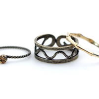 Wave Knuckle Stacking Wrap Ring Set of 3 in Antique Bronze / Silver