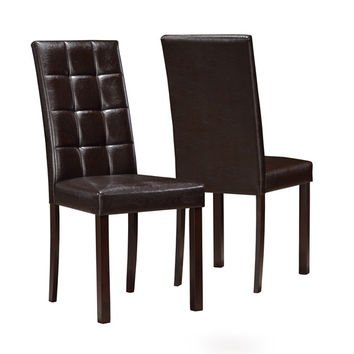 "Dark Brown Leather-Look 38""H Dining Chair (Set Of 2)"