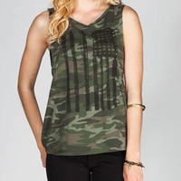 FULL TILT Camo Flag Womens Twist Back Tee 218609946 | Graphic Tees & Tanks | Tillys.com
