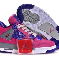 Hot Nike Air Jordan 4 Retro Women Shoes Pink Purple White