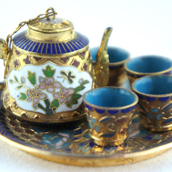 Chinese Cloisonne Tea Set Miniature Blue Gold & Green Enamel Peony Flower