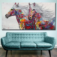 Fashion Oil Painting Pop Art Rainbow Horses Home Decor on Canvas Modern Wall Art Canvas Print Poster Canvas Painting Unframed