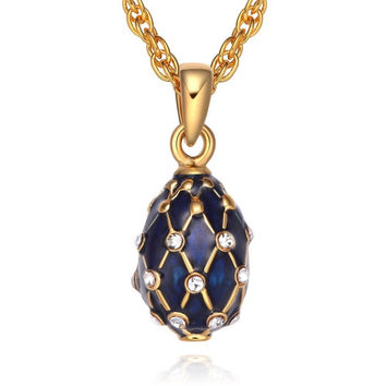 "TF Charms Mini Russian Royal Faberge Egg Pendant Necklace 18"" with Swarovski ..."