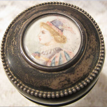 Antique Sterling Silver with Miniature Hand Painted Lid Cut Crystal Glass Vanity Dresser Jar