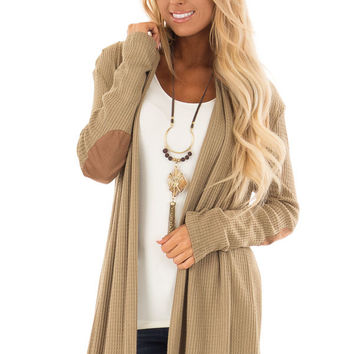 Olive Waffle Knit Cardigan with Faux Suede Elbow Patches