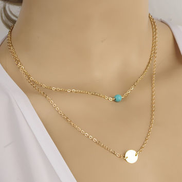 Simple Turquoise Paillette Multilayer Pendant Necklace For Women