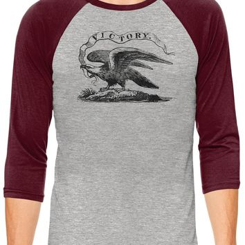 Austin Ink Apparel American Victory Eagle Grey Unisex 3/4 Sleeve Baseball Tee