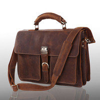 "High quality genuine leather Bag / Rugged Leather Briefcase / Messenger / Laptop / Men's Bag/Bag Large 16"" in Dark Brown--Y16"