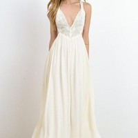 Alemaria Romance Wrap Maxi Slip Dress - Cream