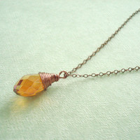 Copper Necklace: Gorgeous Amber Colored Crystal with Antiqued Copper Wire and Chain