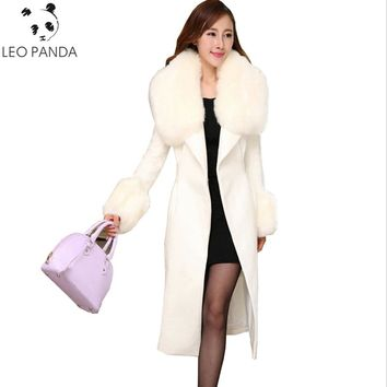 Fashion Slim Women White Cashmere Coat Large Fur Collars Wool Jacket Plus Size Long Trench Coat Autumn Winter Overcoats LXT533