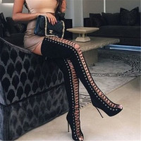 2017 Spring Sexy Girl Gladiator Black PU Faux Suede Lace Up Strappy Peep Toe Thigh High boots women High Heels shoes Sandals