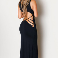 Fashion Summer Backless Dresses Women Prom Dresses Black Hollowed Back Maxi Jersey Dress
