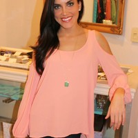 Open Shoulder Blouse- Peach