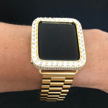 Bezel 38mm 42mm Apple Watch Band  Case Cover Gold Mens Series 1 2 3 / Iced Out  2mm Lab Diamonds Rhinestone Crystals Iwatch Bling Smart Watc