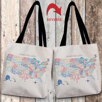 Hand Lettered US Map Color Canvas Tote Bag