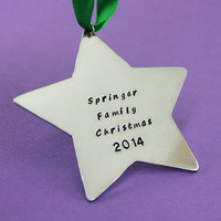 "Personalized Christmas Ornament - 3"" Star Hand stamped decoration  - Holiday Keepsake - Baby's 1st Christmas - Family Christmas Keepsake"