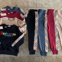"""Burberry"" Women Casual Fashion Tartan Embroidery Letter Long Sleeve Cotton Sweater Trousers Set Two-Piece Sportswear"