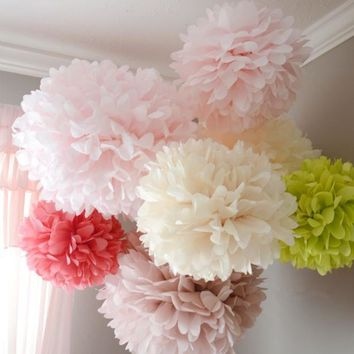 5 PCS 15-20-25 cm Pom Pom Tissue Paper Ball / 24 color choices