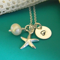 Beachy Solid Sterling Silver Starfish, Freshwater Pearl, and Initial Custom Made Hand Stamped Name Necklace (Star Fish, Shell)