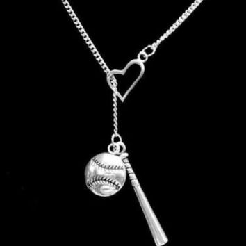 Heart Baseball Bat Softball Sports Theme Allstar Mom Lariat Necklace