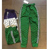 Gucci New Popular Unisex Casual More Logo Print Two Stripe Elastic Waistband Sport Pants Trousers Sweatpants Green
