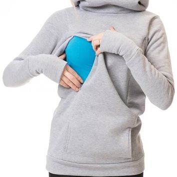 New Light Grey Pockets Hooded Long Sleeve Casual Maternity Sweatshirt