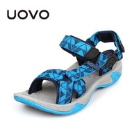 UOVO 2017 Kids Sandals Open Toe Boys Sandals Textile Children Sandals Light-weight Sole Little Boys Summer Shoes size 1-13.5