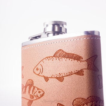 Vintage Freshwater Fish - Trout - Smallmouth Bass - Carp - Catfish - Perch - Sunfish -  6oz Engraved Leather Hip Flask