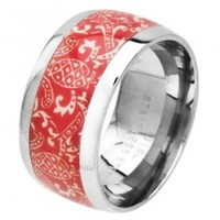 316L Surgical Steel Red and White Colored Print Ring - Size 8
