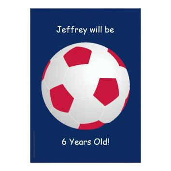 6th Birthday Party Invitation Soccer Ball