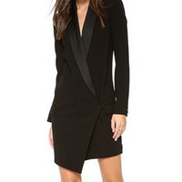 Black Shawl Collar Long Sleeve Assymetric Dress