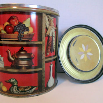 Vintage Procter Gamble Coffee Tin, 1960's Metal Canister, Round Advertising Lidded Tin, Retro Kitchen Storage / Organization, Amish Decor
