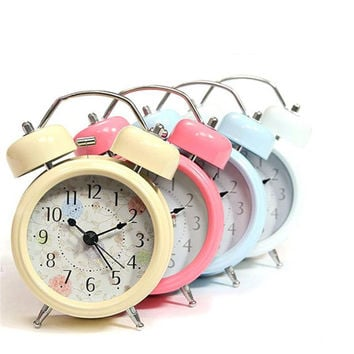 New Fashion Home Decor Metal Double Twin Bell Silent No ticking Metal Desk Table Alarm Clock Backlight
