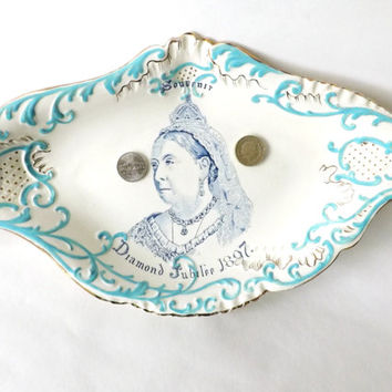 Antique Queen Victoria Diamond Jubilee 1897 Large Shallow Dish, Victorian Souvenir, British Royal Family, Collectors Ceramics