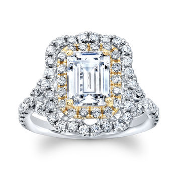 14k white gold 2 ct white sapphire emerald cut antique diamond engagement ring with 0.80 carats diamonds