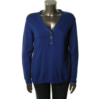 Charter Club Womens Plus Knit Ribbed Trim Henley Sweater