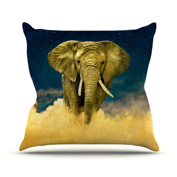 "Nick Atkinson ""Celestial Elephant"" Black Blue Throw Pillow"