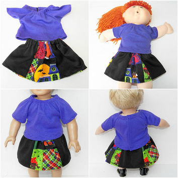 """Cabbage Patch 16"""" KIDS Doll Clothes, Halloween Purple skirt t shirt, 16"""" CPKKids Doll Clothes, 15"""" Bitty Baby &18""""  too. Adorabledolldesigns"""