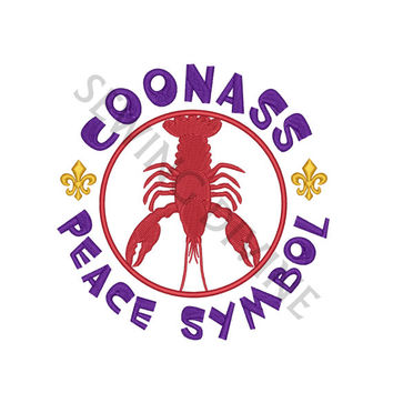 COONASS PEACE SYMBOL Embroidery Design 4x4 5x7 6x10 Instant Download Cajun Louisiana Crawfish Fleur de lis