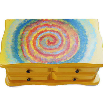 Tie Dye Boho Jewelry Box, Hand Painted In Bright Marigold Yellow