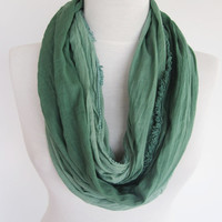Green Cotton Scarf, Infinity Scarf, Loop Scarf, Christmas Gift