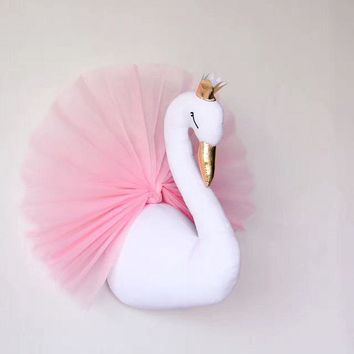 Cute Love 3D Golden Crown plush Swan Wall Art Hanging Swan plush Doll Stuffed Toys Animals Head Wall Decor for Kids girls Room